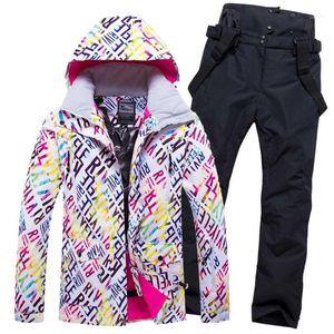 2020 Women Ski Suit Skiing Jacket Pant Snowboard Clothing Hooded Windproof Waterproof Outdoor Sport Wear Female Winter Suit Set1