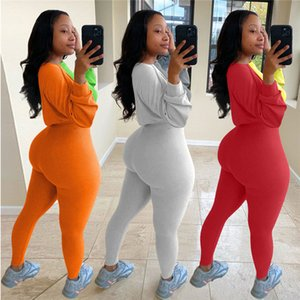 New Patchwork Two Piece Tracksuit Sets Long Sleeve Color Block Hoodies Outfit Women Crop Top Sweater Legging Pant Designer Sportwear F92905