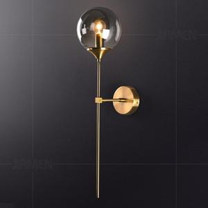 JIAMEN moderne Applique murale d'or Lumières de boule en verre Sconce Accueil Salon Chambre de décoration nuit Loft Luminaires Luminaire