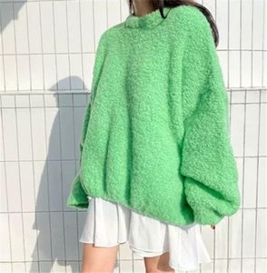 Winter Oversized Sweet Sweater for Women Ladies Korean Style Loose O-neck Jumper Top Solid Fleece Lantern Sleeve Thicken Blouse