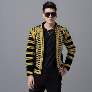 Костюмы Palace Стиль Мужчины куртка Blazer пальто моды Тонкий Верхняя одежда Show Singer Stage Танцовщица Ночной клуб DJ Stage Performance Wear Y1112