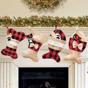 4 Styles Noel Ağaçları Süsleme Parti Süsleri Noel pet kolye Santa Noel Çorap Şeker Çorap Çanta OWB1425
