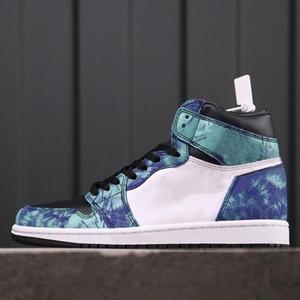 Zapatos 2020 Nuevos 1 1s alta OG WMNS Jumpman Tie Dye Blanco Negro Aurora verde para mujer para hombre de baloncesto al aire libre deporte atlético Formadores las zapatillas de deporte