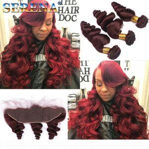Funmi Wine Red Virgin Hair Bundles # 99J 저렴한 인간의 머리 짜기 30inch 느슨한 웨이브 브라질 머리카락 3 번들과 폐쇄 묶음