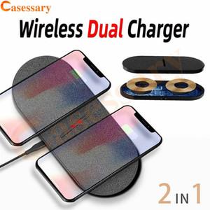 10W Tela de superficie Dual Pad cargador rápido inalámbrico para iPhone 11 12 Pro Max Samsung Nota 20 Ultra Qi Wireless cargador paquete al por menor