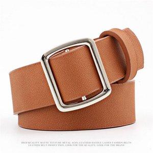 JXQBSYDK MUJER CINTURS Moda Hebilla redonda Diseño Hebilla lisa Cinturones de imitación PU de cuero para mujeres 2020