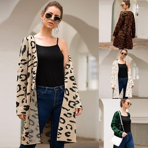 Cardigan Knit Maglione Donne Autunno Inverno Leopard Leopard Manica Lunga Cardigan Casual V Collo V Top Long Coat Sexy Streetwear Femme1