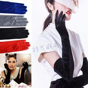 60cm autumn   winter Hepburn Gloves Ladies long black Velvet evening dress performance reception