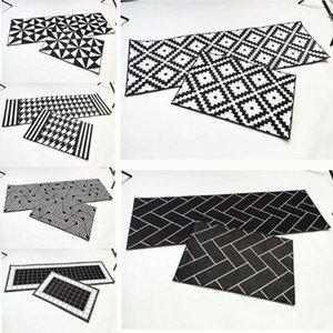 Rayuan Nordic Style Flanell Schwarze und weiße geometrische Küche Bodenmatten Türmatte Lange Teppiche Anti-Rutsch Poorat Area Teppich