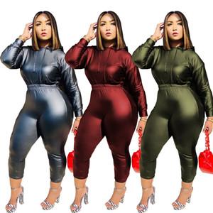 Çarpıcı PU Deri Pantolon Setleri Zarif Kadınlar Uzun Kollu Kapşonlu Üstler Ve Pantolon Moda Lady Parti Gece Kulübü Ofis Bayan Kıyafetler