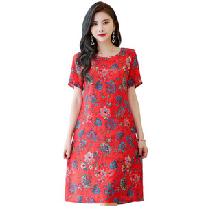 Women Summer Dress Elegant Plus Size 6XL Loose Middle-aged Mother Short Sleeve Long Dress O-Neck Floral Print Cotton Linen Dress LJ200824