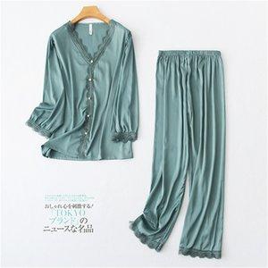 Daeyard Yeni İpek Pijama Kadınlar Sevimli Gömlek Ve Pantolon 2 Adet Aplikler Pijamas Kız Sweet Home Giyim Seksi pijamalar 200.930 ayarlar