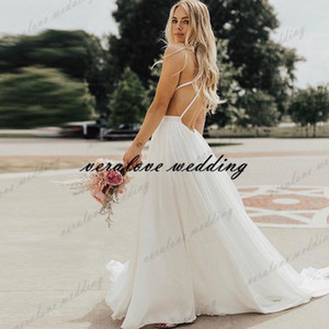 Inspiration Wedding Dress Chiffon Spaghetti Straps Summer Beach Boho Bridal Gowns Long Fairy Wedding Gowns vestido de noiva