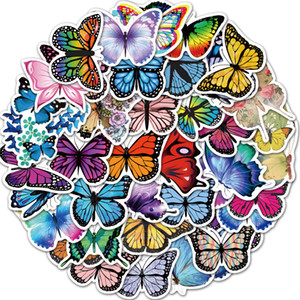 50PCS Lot All Kinds Of Butterfly Stickers Beautiful Butterfly Doodle Sticker Waterproof Luggage Notebook Wall Stickers Home Decoration M069