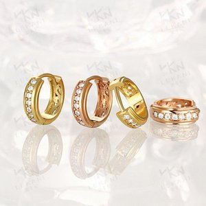 Simple Zircon Round Earrings Gold Plated Circle Earrings For Women Earing Jewelry Noble Fashion Earring Crystal Earings D213
