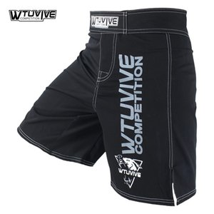 WTUVIVE BLACK MENA MMA Boxeo Troncos de Boxeo Muay Thai Shorts Sanda Fight Wear Barato Martial Arts Martial Kickboxing Tiger Muay Thai 201216