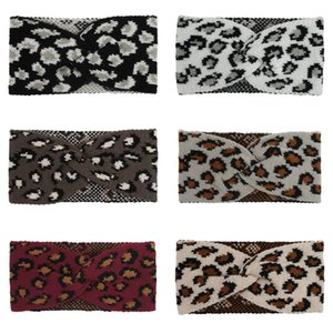 2020 Boho Leopard Print Headbands Criss Cross knit Hair Bands Elastic Twist Head Wraps Yoga Sport Headwear Headpiece for Lady Girls L724FA
