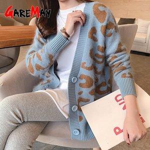 Sonbahar Kış Örme Leopar Kazak Kadın Kore V Boyun Kalın Baskı Hırka Ceket Gevşek Düğme Dış Giyim Tops 201030