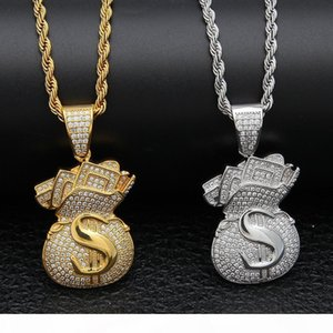 Gold Plated Iced Out CZ Cubic Zirconia Mens USD Money Bag Pendant Chain Necklace personalized Full Diamond Hip Hop Jewelry Gifts for Men