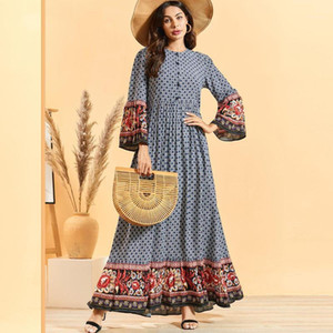 Этническая одежда арабское мусульманское платье женщин элегантный печать с длинным рукавом Maxi Vestidos исламская абая марокканская кафтан Мусульман Рамадан Elbise1