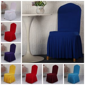 Chair Skirt Cover Wedding Banquet Chair Protector Slipcover Decor Pleated Skirt Style Chair Covers Elastic Spandex Seat Cover DBC BH4231