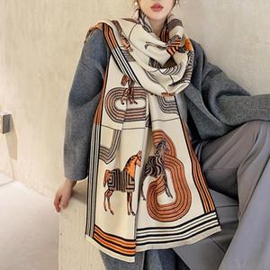 Starke warme Winter-Schal-Frauen-Kaschmir-Schal-Dame Wraps Female Blanket Stolen 2020 Drucken Neu