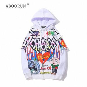 ABOORUN Erkek Hip Hop Tişörtü Moda Graffiti Erkek R737 Y200519 z3u1 için # Baskılı Kapüşonlular İlkbahar Sonbahar Kazak Sportwear