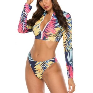 2021 New Sexy Bikini Mujer Rash Guard Female 3 Piece Swimsuit Suit Long Sleeve Rashguard Bath Swim ACI4