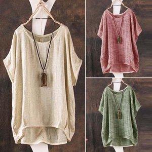 Hirigin big women's round neck summer round neck short sleeve T-shirt bulk women's cotton and linen relaxed comfortable high shirt m-xxl