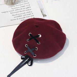 New Sweet Cute Berets Women Winter Hats Soft Macaron color Ribbon Woolen Lolita Beret classical Soft Straps Cross Bow