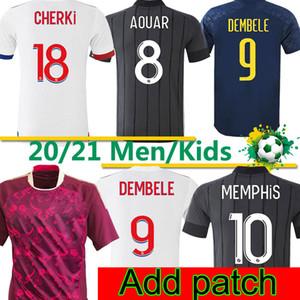 Olympique Lyonnais Maillot de Foot 2020 2021 Ol Lyon Fans Fútbol Versión Jersey Memphis Dembele Hombres Kit Kit Kit Pantalones de camisa de fútbol 3XL