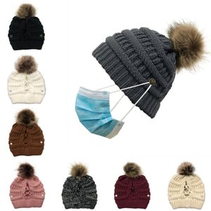 DHL Shipping Lady Pompom Knit Hat Fashion Adult Skullies Beanies Cap Thick Winter Warm Ponytail Button Cap Fur Pom Pom Hats Kimter-L760FA
