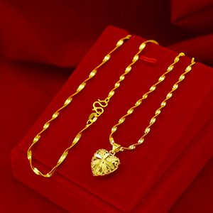 Fashion Real 18K Gold Necklace Pendant for Women Wedding Engagement Jewelry Love Heart Chain Necklace Choker Birthday Gifts Girl 201203