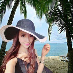 Mujeres de verano plegable playa Panamá Sombrero Panamá Plastic Sun Visor Sombrero para las damas Chapeu Feminino de Praia1