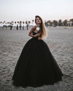 Simple Summer Black Tulle Long A Line Prom Dresses Spaghetti Sweetheart Bride Vestidos De Novia Zipper Back Cheap Formal Women Gowns