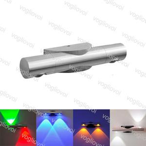 Lámparas de pared de 360 grados de rotación de pared de luz LED 2W 6W aleación de aluminio Movabl montado en la pared accesorio de la lámpara de DHL