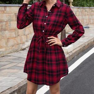 Women's Dresses Mid-length Corset Slim Plaid Dress Top Autumn Winter Vintage Party Shirt Button Dresses Womens Clothing