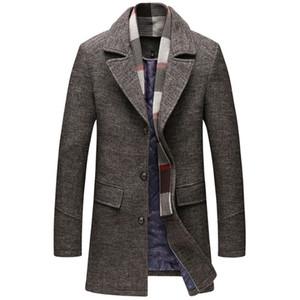 Erkek Tasarımcı Hendek Coats İngiliz Stil Yün Karışımları Ceket Erkekler Kış Kalın Yün Coat Ayrılabilir Eşarp Uzun paltolar Erkek Giyim 5XL