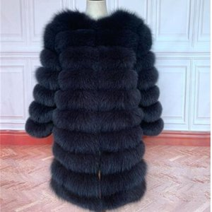 New Natural Coat Winter Women Long Style Genuine Jacket Female Quali-1ty 100% Real Fox Fur Overcoats 201214