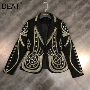 DEAT New Spring Turn-down Collar Full Sleeves Metal Beaded No Buttons Short Jacket Female Single Suit WF18501L Black 201021
