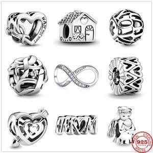 2020 Newst أحبك ماما إنفينيتي القلب إلى الأبد الأسرة الخرز احتواء باندورا سحر الفضة 925 الأصل أساور قلادة مجوهرات
