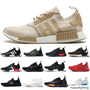 Black Bee White Honey Primeknit Runner NMD R1 PK OG Japan Trainers Mens Running Shoes Red Marble Thunder Womens Jogging Sneakers 36-45