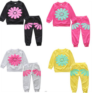 Newborn Baby Girls Clothes Set Flower Long Sleeve Tops + Pants 2PCS Outfits Kids Clothing Childrens Suits