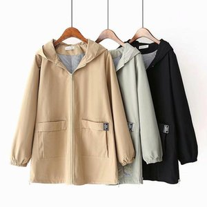 2020 New Oversize Hooded Trench Coat Women Spring Autumn cotton Outerwear Casual tops female Cozy Plus size 5XL Windbreaker G748