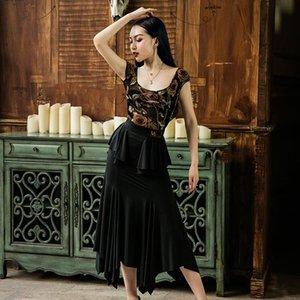 Robe de danse latine Rose Jumpsuit imprimé Noir Jupes longues Cha Cha Cha