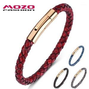 Moda encanto pulseras roja cuerda genuina de cuero mezclado brazalete simple punk clásico unisex joyería