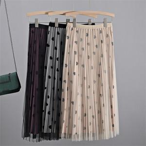 GIGOGOU Heart Shape Women Mesh Pleated Skirt High Waist Long Midi Maxi Skirts Autumn Winter Elegant Velvet Tutu Tulle Skirts Z1122