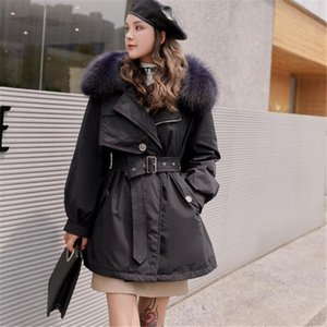 Women's Down & Parkas Large Natural Fur Collar Long Coat Women Winter 90% White Duck Parka Female Belt Removable Liner Jacket Outwear