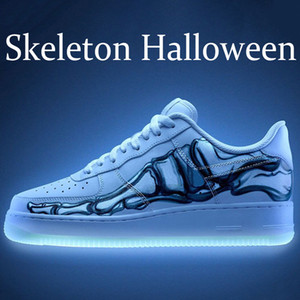 Halloween Night Тройной Черный Белый Скелет Glow В темноте мужчины обувь баскетбол LV8 черный оранжевый парус платины Obsidian Мужчины Женщины Тренеры