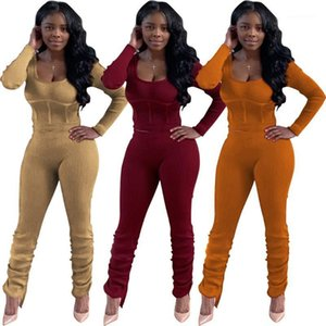 Knit Cotton Women Stacked Jogger Sets 2 Piece Sweater and Jogger Set Womens Two Piece Set Women Jogging Suits Wholesale 20201